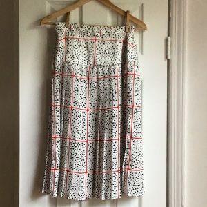 Vintage Pleated Polka Dot Print Midi Skirt Small